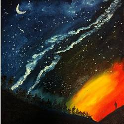 universe, 12 x 16 inch, soma pradhan,abstract paintings,paintings for office,canvas,oil,12x16inch,GAL06455103