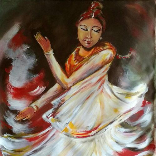 muse, 36 x 48 inch, sayantan  ghati ,figurative paintings,paintings for living room,canvas,acrylic color,36x48inch,GAL07705104