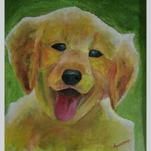 my partner - dog, 14 x 14 inch, amritpal  singh,wildlife paintings,paintings for dining room,canvas,acrylic color,14x14inch,GAL018495105