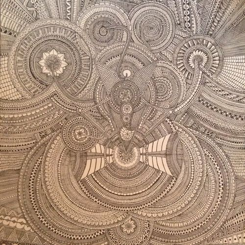 mandala , 15 x 24 inch, pooja  jangid,abstract paintings,paintings for living room,canvas,ink color,15x24inch,GAL018505108
