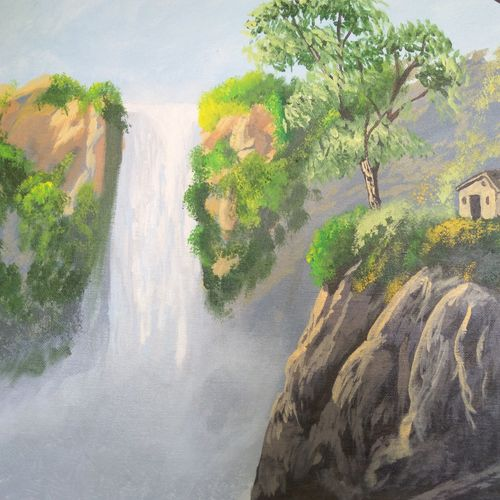 water mist, 20 x 16 inch, anish kumar pg,landscape paintings,paintings for living room,water fountain paintings,canvas board,acrylic color,20x16inch,GAL018515109