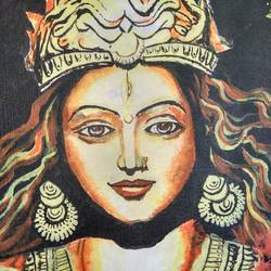 a goddess, 14 x 18 inch, anish kumar pg,religious paintings,paintings for living room,paintings,portrait paintings,paintings for hotel,canvas board,acrylic color,14x18inch,GAL018515110