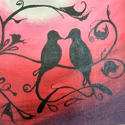 love birds, 18 x 14 inch, anish kumar pg,love paintings,paintings for bedroom,canvas board,acrylic color,18x14inch,GAL018515113heart,family,caring,happiness,forever,happy,trust,passion,romance,sweet,kiss,love,hugs,warm,fun,kisses,joy,friendship,marriage,chocolate,husband,wife,forever,caring,couple,sweetheart