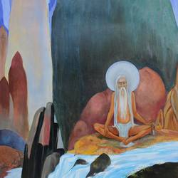 bhagirath's penance , 24 x 36 inch, aradhana gupta,figurative paintings,paintings for living room,canvas,acrylic color,24x36inch,GAL018525114