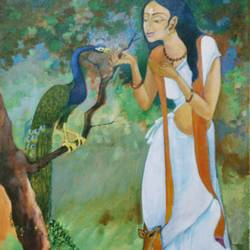shakuntala, 24 x 36 inch, aradhana gupta,figurative paintings,paintings for living room,canvas,acrylic color,24x36inch,GAL018525115