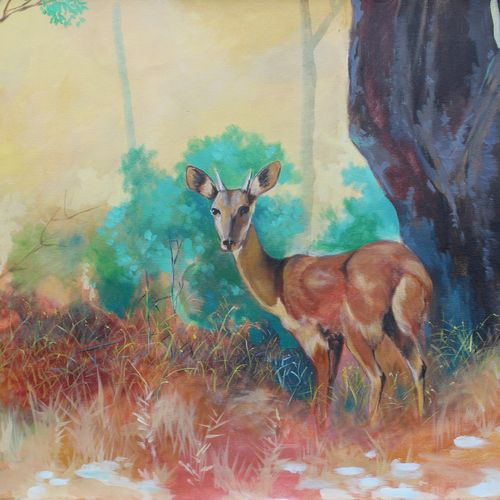 a deer, 36 x 24 inch, aradhana gupta,wildlife paintings,paintings for living room,canvas,acrylic color,36x24inch,GAL018525116