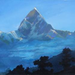 the blue mountain of nainital, 24 x 20 inch, aradhana gupta,landscape paintings,paintings for dining room,canvas,acrylic color,24x20inch,GAL018525117