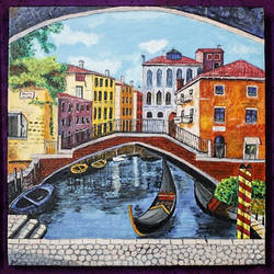 the venetian world of color, 38 x 14 inch, somya jain,cityscape paintings,paintings for living room,canvas,acrylic color,38x14inch,GAL016355120