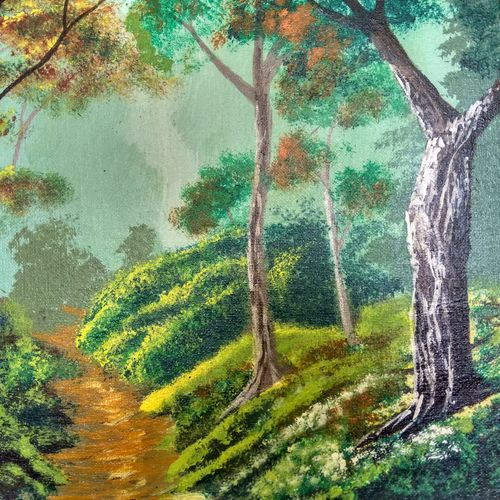 path through the woods, 16 x 12 inch, anish kumar pg,landscape paintings,paintings for living room,canvas board,acrylic color,16x12inch,GAL018515122