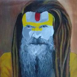 sadhu in kumbh, 16 x 17 inch, aradhana gupta,religious paintings,paintings for living room,canvas,acrylic color,16x17inch,GAL018525124
