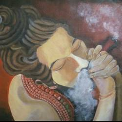 chillum baba, 18 x 14 inch, aradhana gupta,contemporary paintings,paintings for bedroom,canvas,acrylic color,18x14inch,GAL018525127