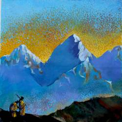 the summit, 29 x 29 inch, aradhana gupta,art deco paintings,paintings for living room,canvas,acrylic color,29x29inch,GAL018525128