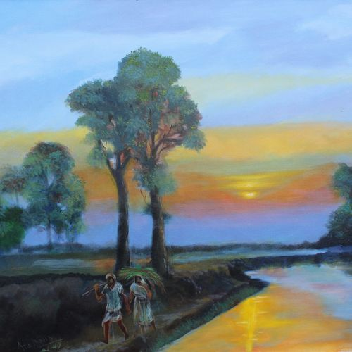 sunset, 30 x 24 inch, aradhana gupta,landscape paintings,paintings for living room,canvas,acrylic color,30x24inch,GAL018525129