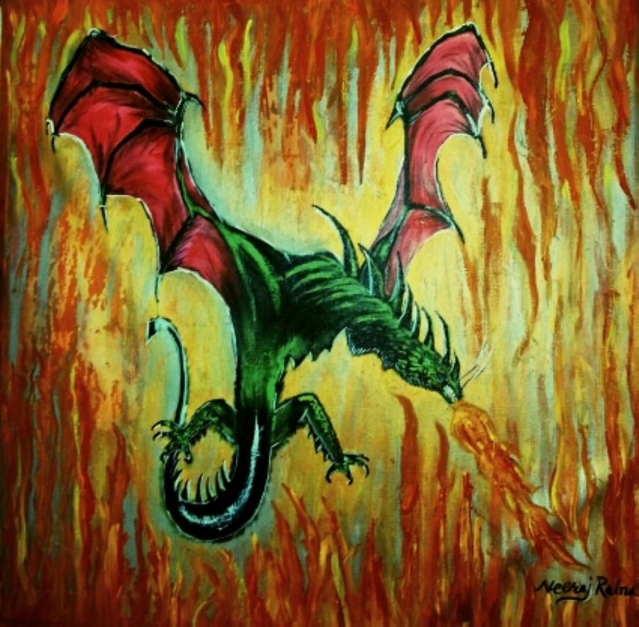 dragon in fire, 24 x 24 inch, neeraj raina,abstract paintings,paintings for living room,canvas,acrylic color,24x24inch,GAL0273513