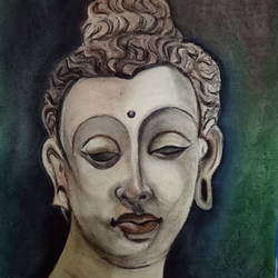 serenity , 14 x 21 inch, rupinder  kaur,buddha paintings,paintings for living room,paper,pastel color,14x21inch,GAL018625130