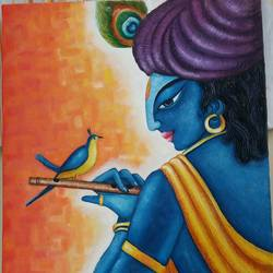 krishna -82 , 18 x 24 inch, inderjeet kaur walia,figurative paintings,paintings for living room,radha krishna paintings,canvas,oil,18x24inch,GAL018635133,krishna,Lord krishna,krushna,radha krushna,flute,peacock feather,melody,peace,religious,god,love,romance