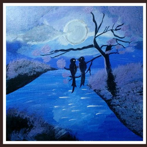 love bird river side , 12 x 12 inch, abha agrawal,love paintings,paintings for living room,canvas,acrylic color,12x12inch,GAL018645134heart,family,caring,happiness,forever,happy,trust,passion,romance,sweet,kiss,love,hugs,warm,fun,kisses,joy,friendship,marriage,chocolate,husband,wife,forever,caring,couple,sweetheart