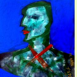 blue face , 14 x 18 inch, girish chandra vidyaratna,abstract paintings,paintings for bedroom,paper,acrylic color,14x18inch,GAL0365136