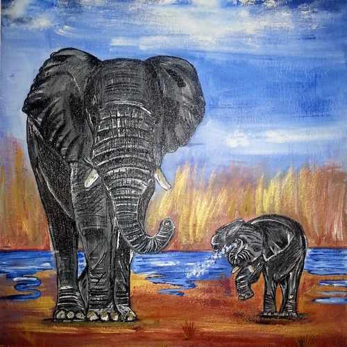 marshy elephants, 18 x 24 inch, neeraj raina,abstract paintings,paintings for dining room,canvas,acrylic color,18x24inch,GAL0273514