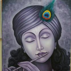 krishna -79, 18 x 24 inch, inderjeet kaur walia,figurative paintings,paintings for living room,radha krishna paintings,canvas,oil,18x24inch,GAL018635142,krishna,Lord krishna,krushna,flute,peacock feather,melody,peace,religious,god,love