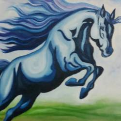 horse-2, 18 x 24 inch, inderjeet kaur walia,paintings for living room,wildlife paintings,horse paintings,canvas,oil,18x24inch,GAL018635144