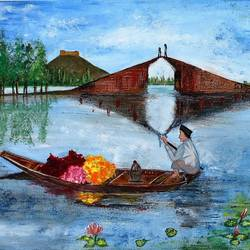 kashmir dal lake landscape, 18 x 24 inch, neeraj raina,landscape paintings,paintings for living room,canvas,acrylic color,18x24inch,GAL0273515