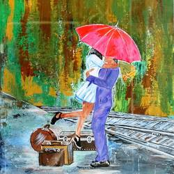 love in rain, 18 x 24 inch, neeraj raina,abstract paintings,paintings for living room,canvas,acrylic color,18x24inch,GAL0273516