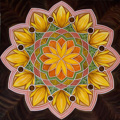 sunflower mandala, 36 x 36 inch, manjou ( harmanjit kaur) lamba,contemporary paintings,paintings for dining room,canvas,acrylic color,36x36inch,GAL010955165