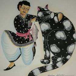 kalighat babu with cat, 12 x 15 inch, bhaskar chitrakar,paintings for living room,figurative paintings,modern art paintings,kalighat painting,fabriano sheet,watercolor,12x15inch,GAL018465169