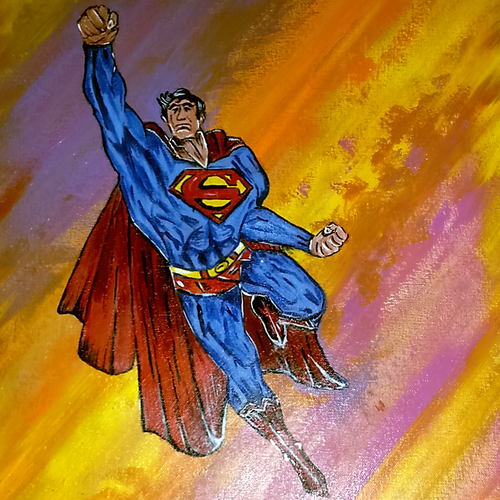 we all need a superman in our lives to lift us up., 18 x 24 inch, neeraj raina,abstract paintings,paintings for bedroom,canvas,acrylic color,18x24inch,GAL0273517