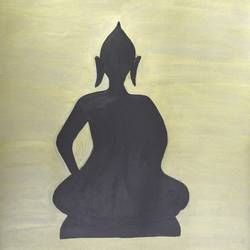 buddha, 10 x 11 inch, nipuna ghosh,buddha paintings,paintings for living room,ivory sheet,acrylic color,10x11inch,religious,peace,meditation,meditating,gautam,goutam,buddha,black and white,shadow,idol,GAL017305170