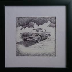 vintage wheels-2, 8 x 8 inch, vinay surtikar,illustration paintings,paintings for office,thick paper,ball point pen,8x8inch,GAL018775174