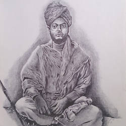 swami, 16 x 24 inch, vinay surtikar,portrait paintings,paintings for living room,thick paper,ball point pen,16x24inch,GAL018775178