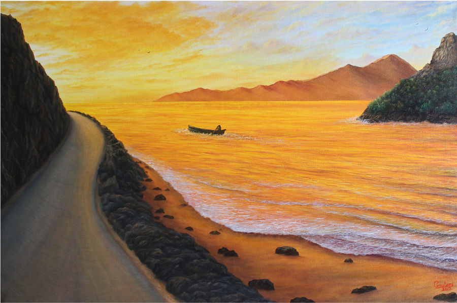 paths in life - journey towards light, 36 x 24 inch, goutami mishra,landscape paintings,paintings for living room,horizontal,canvas,oil,36x24inch,GAL04655181