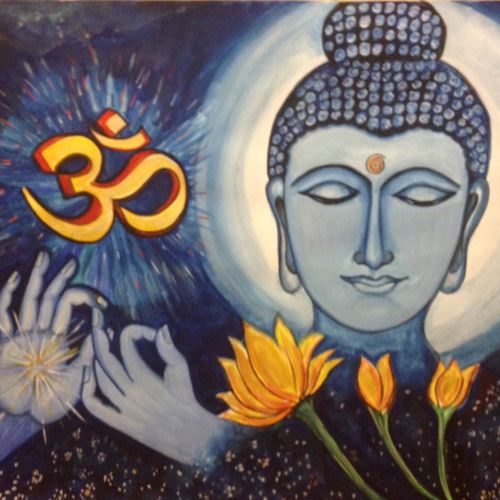 om shanthi, 30 x 22 inch, lavanya venkatesh,buddha paintings,paintings for living room,paper,poster color,30x22inch,religious,peace,meditation,meditating,gautam,goutam,buddha,blessing,lotus,GAL01175182
