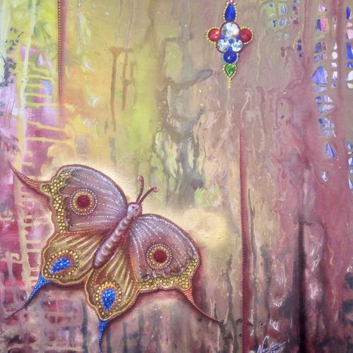 the golden butterfly, 21 x 28 inch, neelam bansal,modern art paintings,paintings for living room,canvas,mixed media,21x28inch,GAL018815184