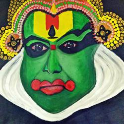 kathakali, 14 x 10 inch, chitra rohit,paintings for dining room,figurative paintings,drawing paper,poster color,14x10inch,GAL018875192