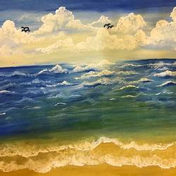 beach scenery, 14 x 10 inch, chitra rohit,landscape paintings,paintings for living room,water fountain paintings,drawing paper,poster color,14x10inch,GAL018875193