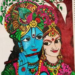 lord krishna with radha on glass , 14 x 14 inch, chitra rohit,religious paintings,paintings for living room,acrylic glass,glass,14x14inch,GAL018875194