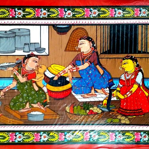 tribal or village women at work , 18 x 12 inch, k. srinivas rao,realistic paintings,paintings for living room,canvas,acrylic color,18x12inch,GAL016915198