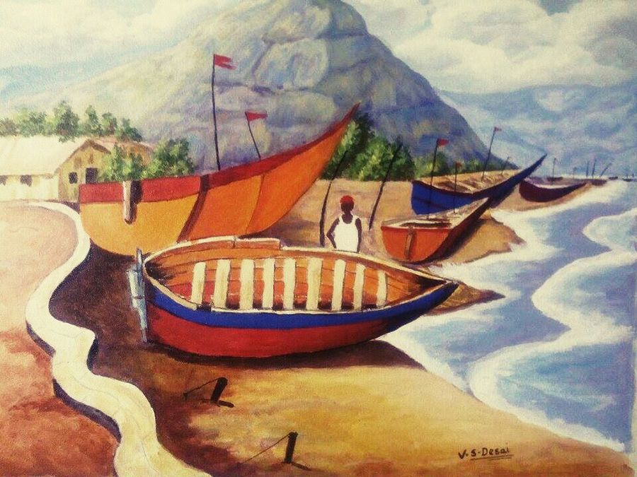 nature-boat, 16 x 20 inch, vaishali desai,nature paintings,paintings for living room,canvas,acrylic color,16x20inch,GAL01652Nature,environment,Beauty,scenery,greenery,trees,water,beautiful,leaves,flowers,boat
