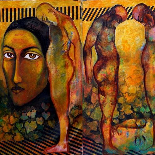 man and women, 42 x 42 inch, avi roy,figurative paintings,canvas,acrylic color,42x42inch,GAL0172520