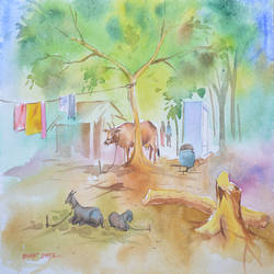landscape 1, 15 x 11 inch, bharat ghate,landscape paintings,paintings for living room,handmade paper,watercolor,15x11inch,GAL018225209