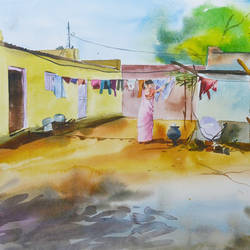 landscape 3, 20 x 14 inch, bharat ghate,landscape paintings,paintings for living room,handmade paper,watercolor,20x14inch,GAL018225211