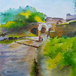 landscape 4, 20 x 14 inch, bharat ghate,landscape paintings,paintings for living room,handmade paper,watercolor,20x14inch,GAL018225212