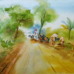 landscape 5, 20 x 14 inch, bharat ghate,landscape paintings,paintings for living room,handmade paper,watercolor,20x14inch,GAL018225213