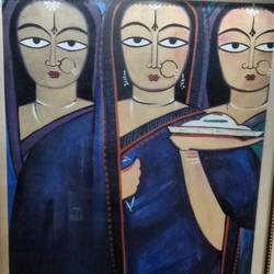 teen pujaarine, 18 x 24 inch, seema agrawal,modern art paintings,paintings for office,canvas,oil paint,18x24inch,GAL018595218