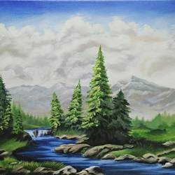 beauty of nature, 14 x 18 inch, roshni agrawal,landscape paintings,paintings for living room,canvas,acrylic color,14x18inch,GAL018935220