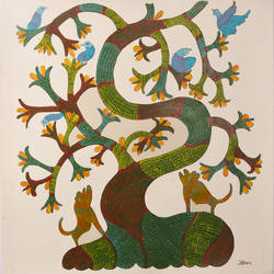 gond nature, 18 x 19 inch, jennifer jacob,folk art paintings,paintings for living room,gond painting.,thick paper,acrylic color,18x19inch,GAL018955222