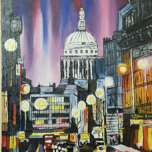 cityscape, 18 x 24 inch, roshni agrawal,cityscape paintings,paintings for living room,canvas,acrylic color,18x24inch,GAL018935226